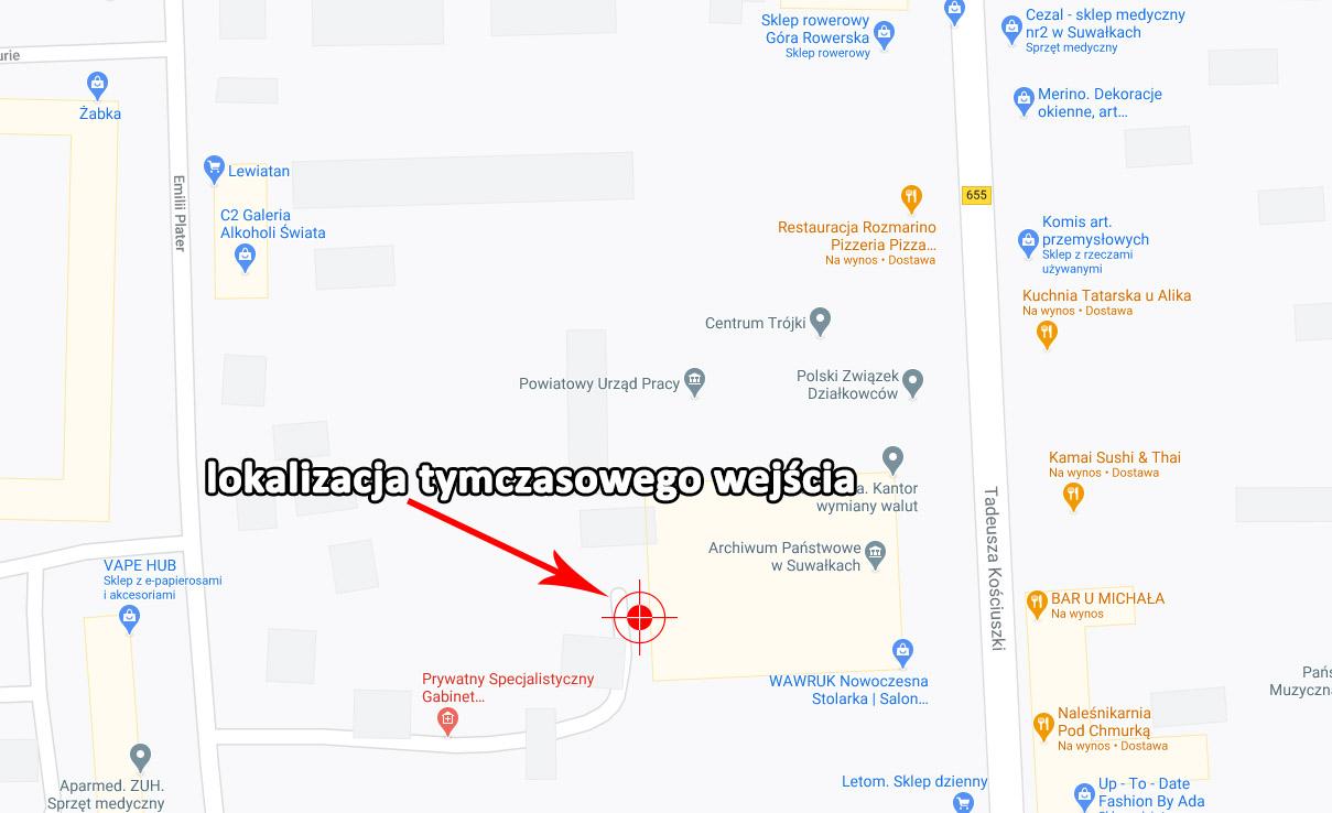 Mapa pokazaująca lokaliazcję tymczasowego wejścia do Archiwum Państwowego w Suwałkach, mapa z google maps