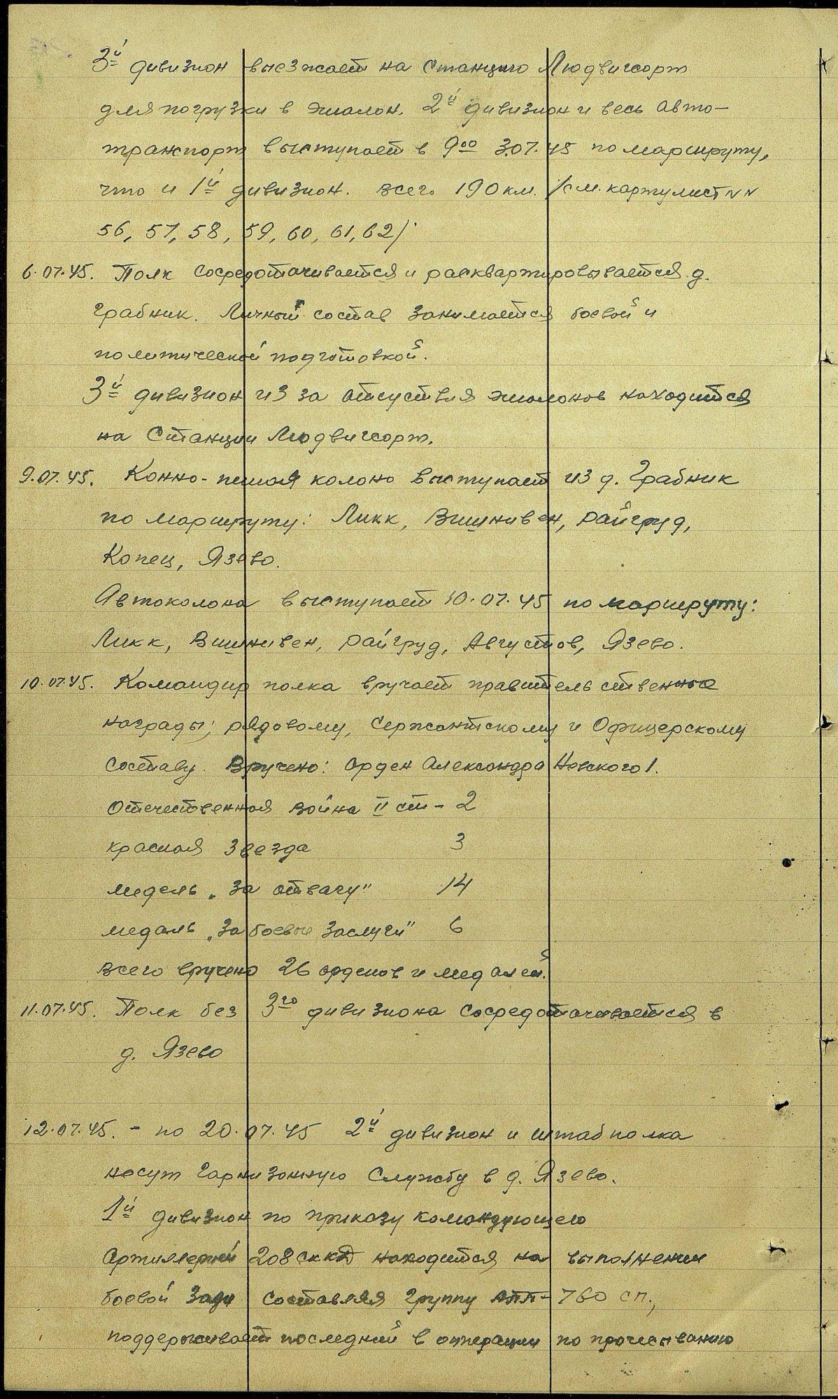 Z dziennika działań bojowych 662 Pułku Artylerii kopia fragmentu, https://pamyat-naroda.ru, [dostęp: 03.06.2020]
