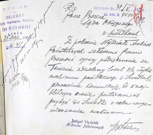 Pismo J. Witkiewicza wyrażające podziękowanie Prezesowi Romanowi za przekazany na archiwum lokal (kopia z zespołu Sąd Okręgowy w Grodnie Wydział Zamiejscowy w Suwałkach ze zbiorów AP w Suwałkach)